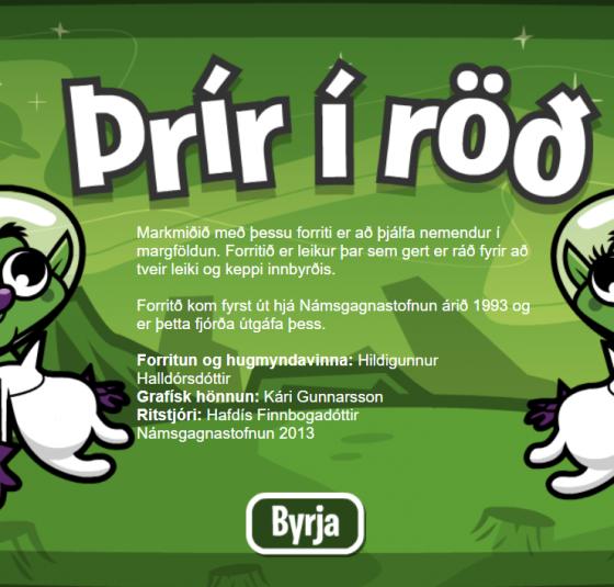 þrír í röð