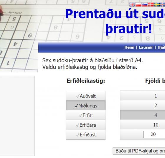 sudoku-þrautir til útprentunar